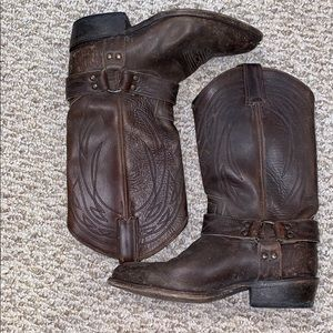 FRYE Espresso Billy Harness Leather Boots! Size 8